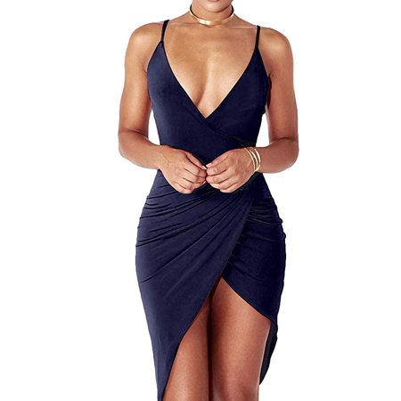 Women's Sexy V Neck Spaghetti Strap Bodycon Sleeveless Wrap Dress Front Slit Bandage Midi Club Dresses