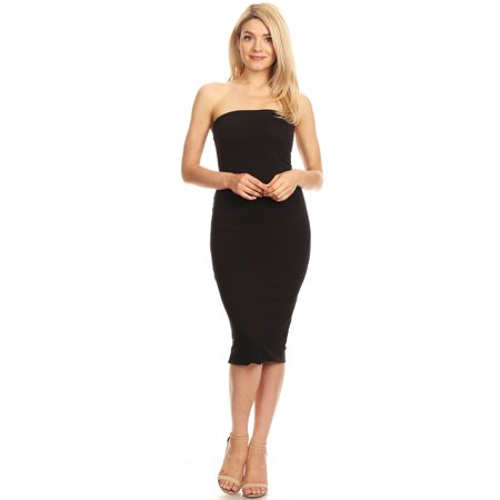 Women's Solid Lined Strapless Mid-Length Open Back Dress