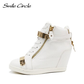 2018 Spring Autumn Style wedges sneakers women high top PU leather High heel casual shoes women sneakers black white