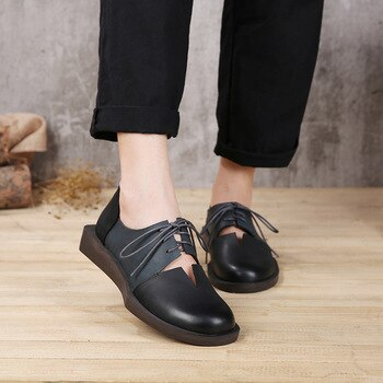 2019 Spring Summer Women Shoes Flats Genuine Leather Round Toes Lace up Mixed Color Handmade Retro Women Flats