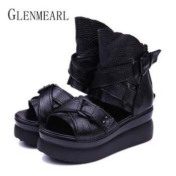 2019 Summer Genuine Leather Women Sandals Platform Women Shoes Wedge Heel Fish Head High Heels Black Sandals Singles Shoes 20