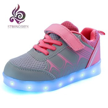 25-37 Size USB Charging Basket Led Children Shoes With Light Up Kids Casual Boys&Girls Luminous Sneakers Glowing Shoe Wing