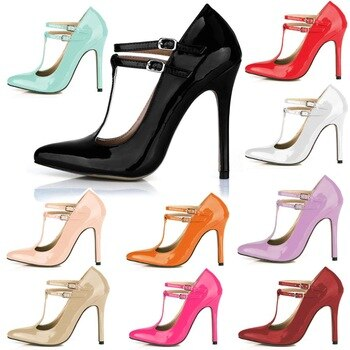 CHMILE CHAU Pearl PU Sexy Party Gress Women's Shoes Pointed Toe Stiletto High Heel T-Strap Pumps Buckle Zapatos Mujer 0640-i