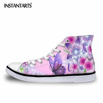 INSTANTARTS 2018 Classic Women Vulcanize Shoes Fashion Butterfly 3D Print Couples High Top Lace-up Flat Canvas Shoes Sneakers