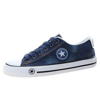 Women Sneakers Denim Canvas Shoes Casual Shoes Trainers Stars Fashion Skate Shoes Flats Basket Femme Tenis Feminino Size 35-44