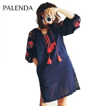 2017 new bohemian embroidery kaftan dress lantern sleeve cotton bandage tassel flora loose whole sale