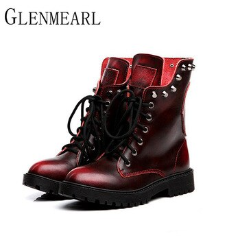 2019 Genuine Leather Women Boots Fall Winter Warm New Brand Rivets Fashion Platform Red Black Mid-Calf Boots Women Shoes ZK15