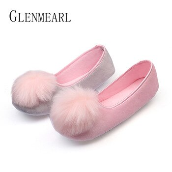 2019 Hot Sale Women Indoor Shoes Home Slippers Spring Autumn Warm Flannel Soft Sweet Slippers Comfortable Flats Pregnant Shoes45