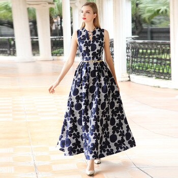 2019 new arrival high quality summer women dress Elegant floral Jacquard sleeveless Dress V-neck Vest Long maxi Dress Vestidos