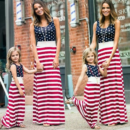 4th of July Fashion Women Mother Daughter Matching Dresses Summer Women Girl Long Maxi Dress Clothes