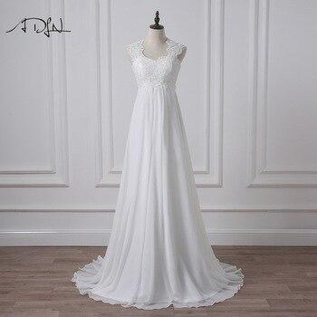 ADLN 2020 Empire Wedding Dress White/Ivory Chiffon Bridal Gown for Pregnant Woman Vestidos de Novia Plus Size Robe de Mariee