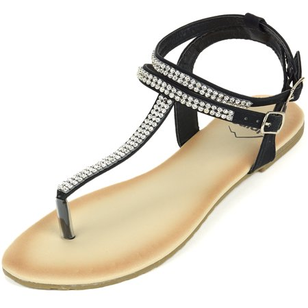 Alpine Swiss Womens Rhinestone T-Strap Sandals Ankle Strap Flat Summer Shoes