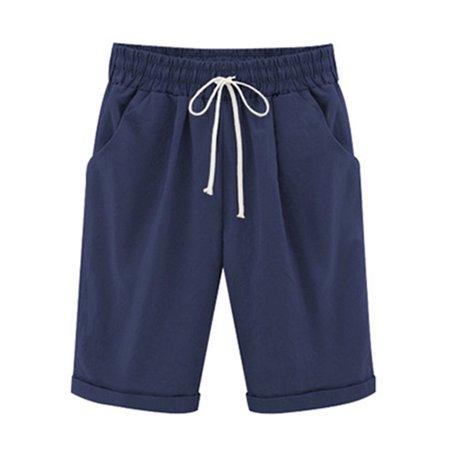 Avamo Ladies Summer Plain Drawstring Elastic Waist Bermuda Shorts Casual Knee-Length Curling Short Hot Pants Womens Pockets Five Point Trousers