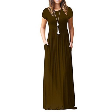 Casual Long Dress for Women Solid Color Short Sleeve Maxi Dress with Pocket