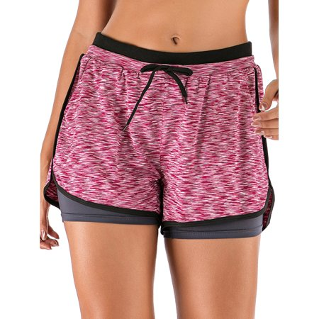 Elastic Waistband Yoga Shorts for Women Workout Running Athletic Bike High Waist Activewear Bottoms