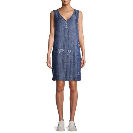 EV1 from Ellen DeGeneres Sleeveless A-Line Palm Print Dress Women's