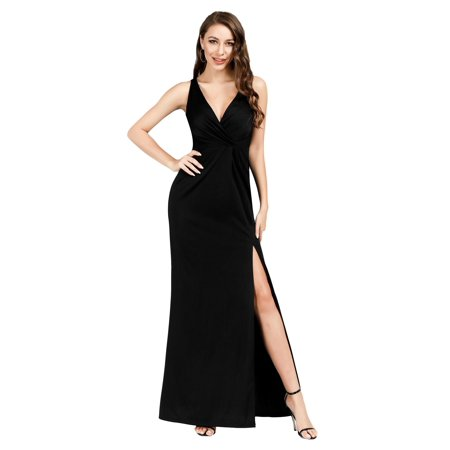 Ever-Pretty Women Full Length V-neck Ruched Wedding Party Evening Dresses for Women 0907 Black US4