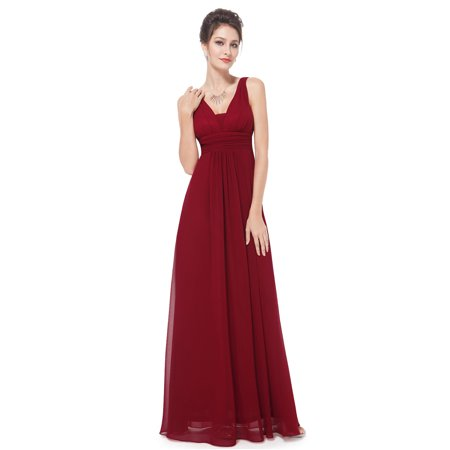 Ever-Pretty Womens Chiffon V Neck Sexy Long Evening Wedding Party Bridesmaid Dresses for Women 81103 Burgundy US4