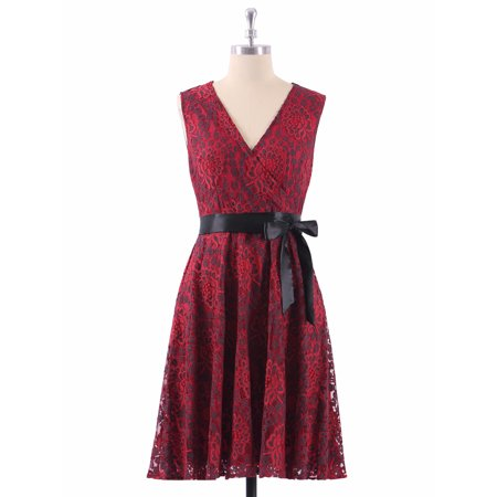 Ever-Pretty Women's Elegant A-line Fit and Flare V-Neck Burgundy Lace Wedding Guest Dresses for Women 04025