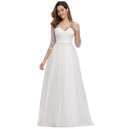 Ever-Pretty Womens Elegant A-Line Floral Lace Bridal Gowns Wedding Dresses for Bride 00806 US4