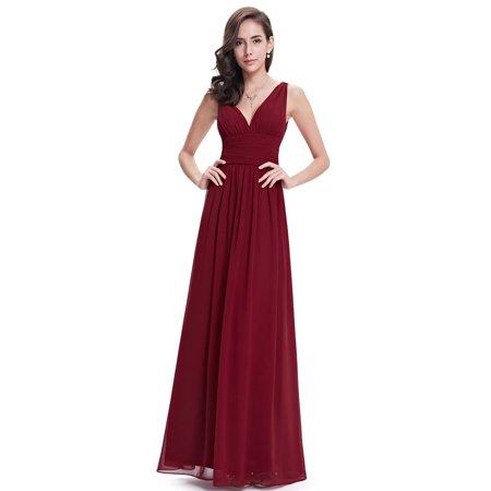 Ever-Pretty Womens Elegant Chiffon Long Maxi Evening Cocktail Bridesmaid Wedding Party Dresses for Women 90163 Burguudy US4