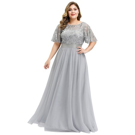 Ever-Pretty Womens Elegant Embroidery A-Line Bridesmaid Dresses for Women 09042 Grey US4