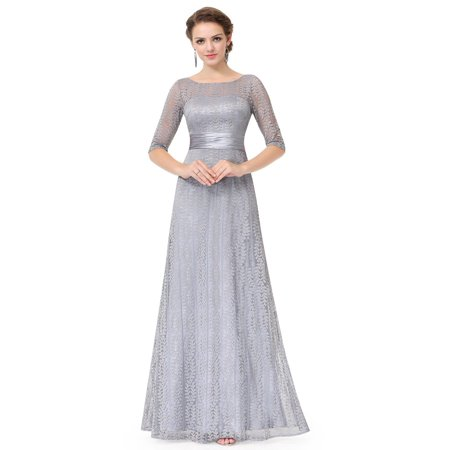 Ever-Pretty Women's Elegant Long A-Line Floral Lace Formal Evening Wedding Guest Mother of the Bride Dresses for Women 08878 Grey 4 US