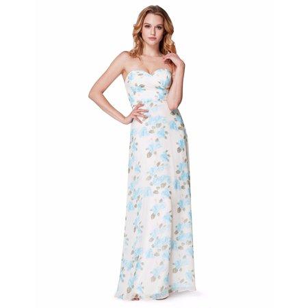 Ever-Pretty Women's Floral Chiffon Summer Beach Wedding Party Bridesmaid Dresses for Women 07237 Blue US4