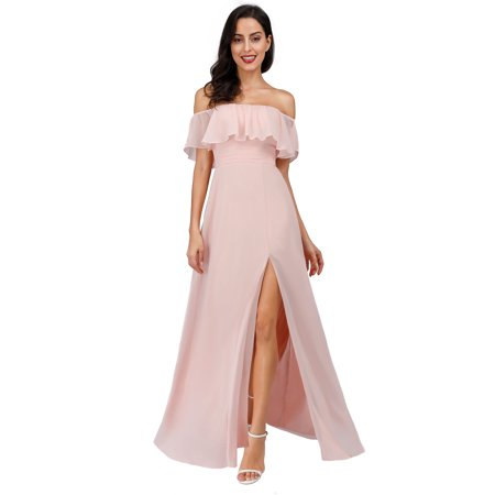 Ever-Pretty Womens Off Shoulder Wedding Party Dresses for Women 0968 Pink US4