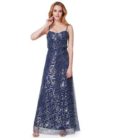 Ever-Pretty Women's Romantic Floor-Length Sparkling Blouson Evening Prom Wedding Guest Maxi Dresses for Women 07288 Navy Blue US 4