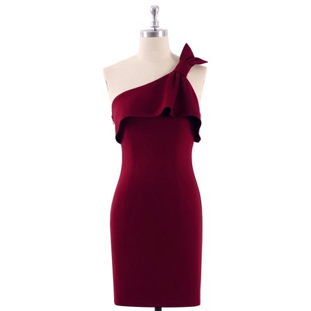 Ever-Pretty Women's Sexy Above Knee One Shoulder Plain Bodycon Wedding Guest Cocktail Party Sheath Dresses for Women 04020 Burgundy US 4