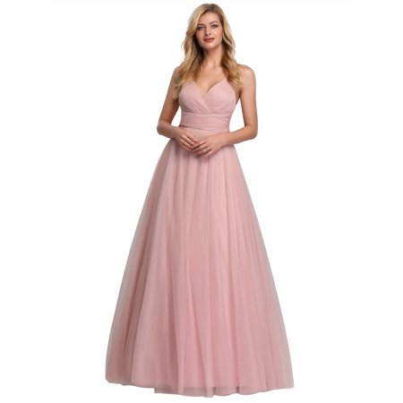 Ever-Pretty Womens Shimmery Tulle Long Wedding Party Bridesmaid Evening Dresses for Women 07905 Pink US4