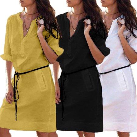 Fashion Women Casual Plain Short Sleeve Midi Dress Loose Cotton Long Top Shirt Dress Black White Yellow