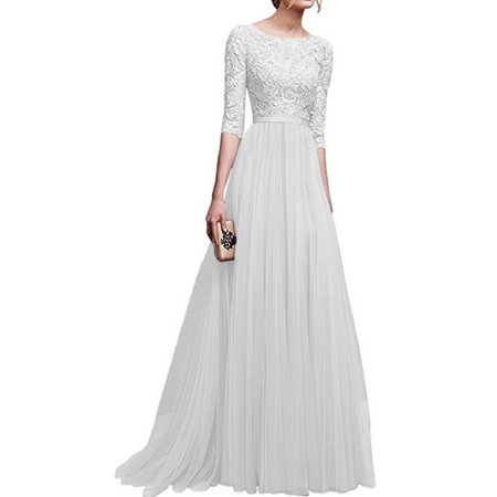 Formal Dresses For Women Long Lace Dress Evening Party Prom Wedding Bridesmaid Ball Gown Ladies Half Sleeve Maxi Dress
