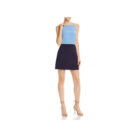 French Connection Womens Whisper Square Neck Colorblock Sheath Dress