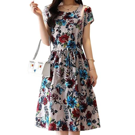 Funcee Women Fashion Short Sleeve Printed Slim Dress