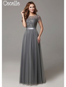 Grey Long Modest Lace Tulle Floor Length Women Bridesmaid Dresses Short Sleeves Sheer Neckline Formal Wedding Party Dress