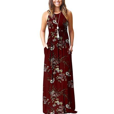 Hawaiian Holiday dresses For Women Floral Print Long Maxi Boho Dress Sleeveless Evening Party Beach Sundress Blue Sun Print S