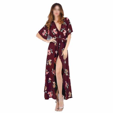 HGMart V Neck Chiffon Maxi Dress for Women Short Sleeve Floral Flowy Summer Beach Party Wedding Dress