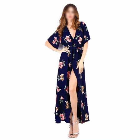 HGMart V Neck Chiffon Maxi Dress for Women Short Sleeve Floral Flowy Summer Beach Party Wedding Dress,Blue