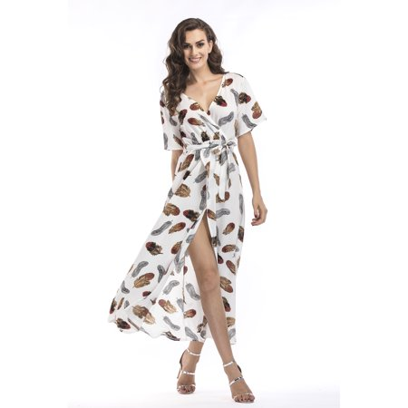 Home Cal V Neck Chiffon Maxi Dress for Women Short Sleeve Floral Flowy Summer Beach Party Wedding Dress