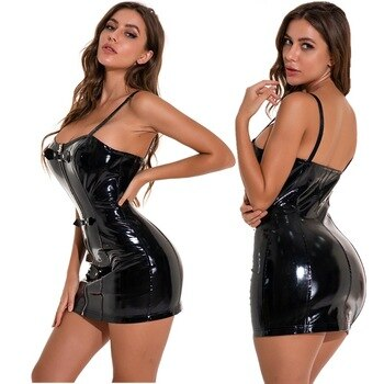 Hot Sale Plus Size Women Gothic Black Sexy Mini Bodycon Leather Dress With Front Zip PVC Catsuit Night Culb Dance Wear Sexy