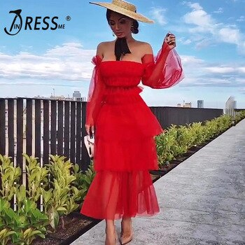 INDRSESME 2020 Fashion Sexy Solid Women Slash Neck Flare Mesh Sleeve Tiered Ruffles Dress Party Hot Lady Dresses Christmas Sale