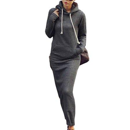 KABOER Women Long Sleeve Hoodie Dress Pullover Sweatshirt Casual Sweater Dresses
