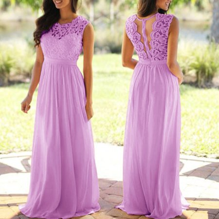 Lace Dresses Women Sleeveless Long Dress for Wedding Party Bridesmaid Dresses