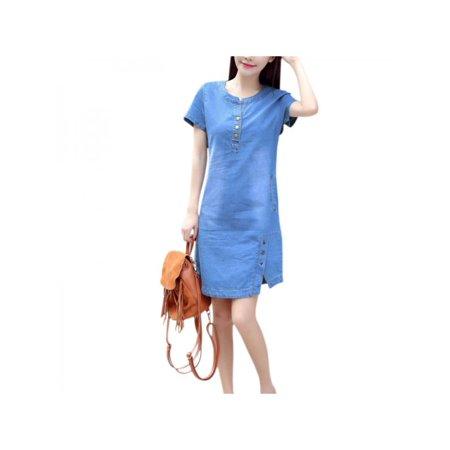 Lavaport Summer Women Pocket Denim Dress Short Sleeve Mini Dress
