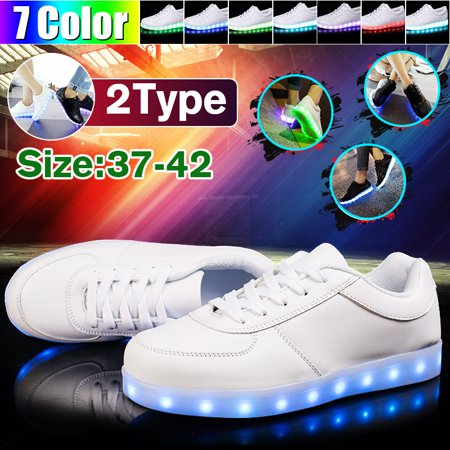 LED Light Up Sneakers High Top USB Charging Lace & Straps Men Women Unisex Shoes 37-42 sizes