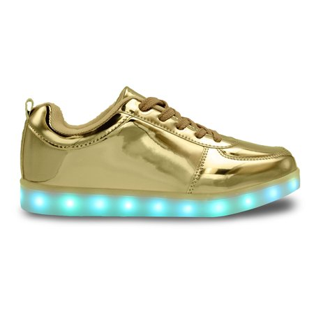 LED Light Up Sneakers Low Top USB Charging Lace-Up Men Women Unisex Shoes Gold