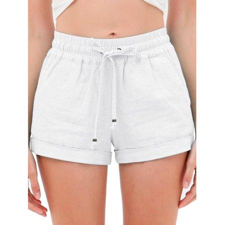 Made by Olivia Women's Drawstring Elastic Waist Casual Comfy Cotton Linen Beach Shorts