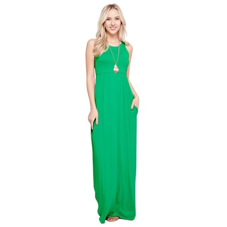 Maxi Dresses For Women Solid Lightweight Long Racerback Sleeveless W/ Pocket -Kelly Green (Small)